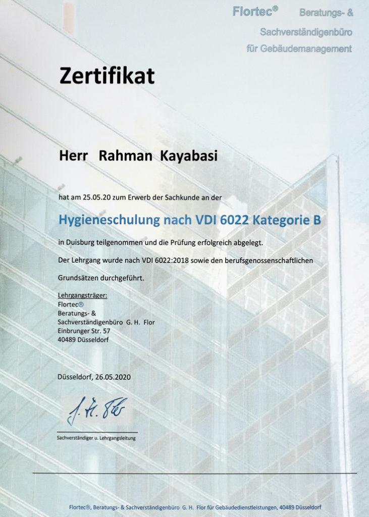 Zertifikat Hygieneschulung-VDI-6022-Rahman Kayabasi Batin GmbH