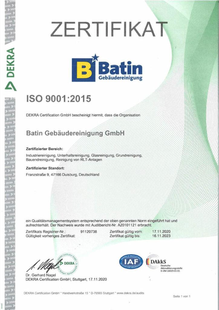 Zertifizierung ISO-9001-2015 Batin Gebädereinigung